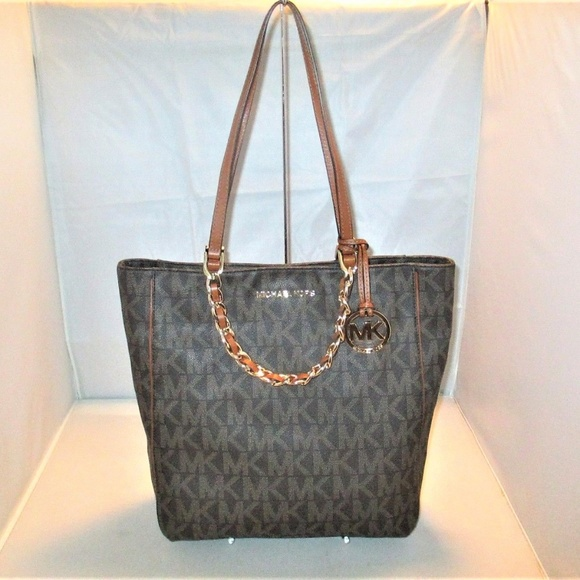 Michael Kors Handbags - Michael Kors Harper LG N/S MK Signature PVC Tote